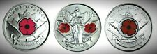 Canada Remembrance 3 Coin Poppy Set, 2004P, 2008P & 2010.