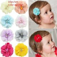 10Pcs Baby Girl Chiffon Flowers with Pearl Infant Hairpins Headwear Hair Clips.