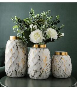 Simple Traced Ceramic Vase Hydroponic Container Gold Pattern Living Room Decor