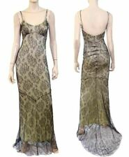 JIKI MONTE CARLO Black Lace Trumpet Hem Slip Dress Gown 38 IT 2