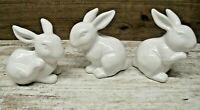 Lot of 3 Small Vintage? Bunny Rabbit Figurine Ceramic Porcelain White