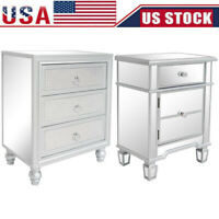 Mirrored 1/3 Drawer End Table Sofa Side Table Silver Glass Nightstand Furniture