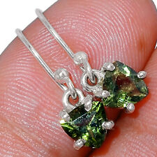 Genuine Faceted Moldavite 925 Sterling Silver Earrings Jewelry AE166163