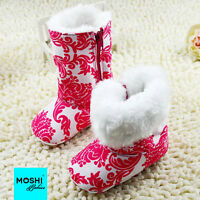 Girls Pink and white print winter boots with white fur lining - by Moshi Babies