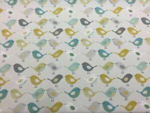 Fryetts Scandinavian Birds Cotton Print Ochre - Brand New per full metre