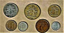 Island (Iceland), 7 coin lot w/10 Kronur thru 10 Aurar coins;1940 and up at E.F.