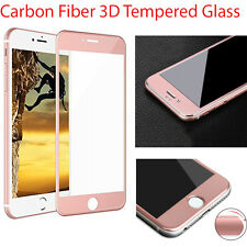 Carbon Fiber 3D Curved Screen Protector Tempered Glass for iPhone 7 Rose Gold