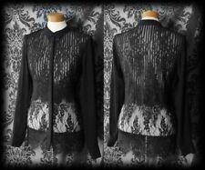 Gothic Black Sheer Lace Layer Detail MESMERISM Blouse 8 10 Victorian Vintage