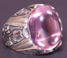 Sterling Silver 925 men ring ,steel pen crafts handmade 20*20 mm pink stone
