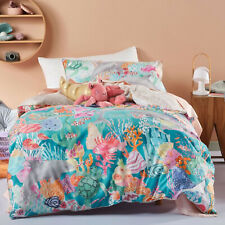 Linen House Kids The Reef Contemporary Quilt Cover Set. Reversible. Sea Life