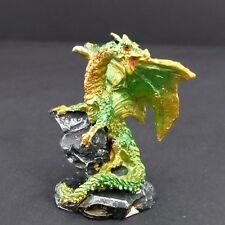 "Mini Dragon Statue Green Yellow On Rocks 2.5"" Mythical Fantasy Dragon Figurine"