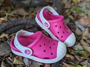 Crocs Bump It Clog Baby Toddler Girls Size 7 Pink White