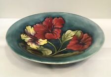 Antique Vintage Walter Moorcroft Pottery Large Bowl Hibiscus Pattern c.1950