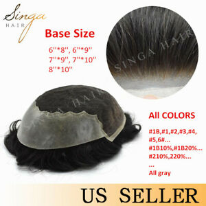 French Lace Front Mens Toupee Poly Skin Hairpeice Human Hair System Replacement