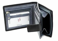 Mens Real Leather Wallet Large Zip Coin Pocket Pouch ID Window 1180 Black/Grey