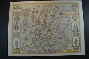 Vintage decorative sheet map of Scotland with Orkney John Speede 1610