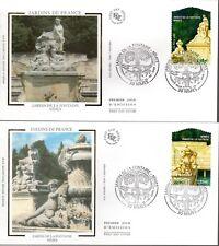 3786/7+ FDC 2  ENVELOPPES  1er JOUR SUR SOIE  JARDINS DE FRANCE 2005