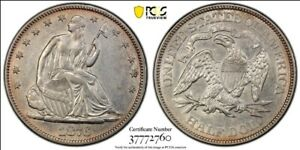 """1876 PROOF Seated Half Dollar PCGS AU-Detail, HIGHLY SOUGHT-AFTER """"C"""" IN NECK!"""
