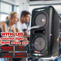 """Rechargeable Portable Dual 6.5""""  Bluetooth Speaker FM LED Heavy Bass Stereo USA"""