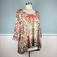 Size 3X Unity World Wear Floral Sequin Hi Lo Hem Tunic Top Shirt Women's Plus