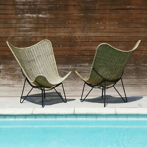 Iron Woven Wicker Large Butterfly Pool Side Patio Chairs Vintage MCM Lounge
