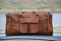 "24"" Men's genuine Leather luggage gym weekend overnight duffle bag holdall 30"""