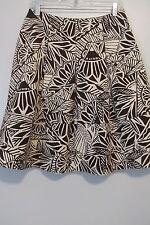 Territories Brown/Beige Tribal Floral Print Knee-Length Pleated  Skirt SIZE:8