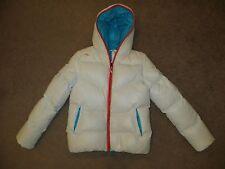 KJUS BACKFLIP WHITE ORANGE BLUE PUFFER DOWN SKI SNOW JACKET COAT PARKA 36 S NWT
