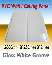 10 PIECES (PACK) PVC CEILING / WALL PANEL  GLOSS WHITE GROOVE  DESIGN 5800MM