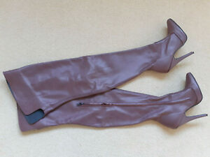 "Rare LEATHERWORKS 5.5"" High Heel Burgundy Leather Thigh Boots UK 5 38 7.5 Fetish"