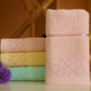 100% Pure Cotton Towel Beach Bath Absorbent Towels Water Cube Pattern 33x74cm