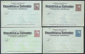 SALVADOR 1880s 1890s COLLECTION OF 16 POSTAL CARDS ALL MINT FOUR ARE JOINT