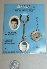 RARE 1962 Ben Casey MD TV Show Key Chain & Stud Button Flasher MOC Rack Toys HTF