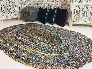 Second Nature Online Oval Braided Floor Rug Bohemian Blue Multicolour LARGE Mat