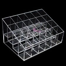 24 Clear Cosmetic Makeup Acrylic Lipstick Display Case Stand Storage Trapezoid