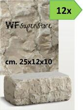 Mattoni marmo Bianco Perlino 25x12x10 - 12 pz - muro aiuola bordura giardino