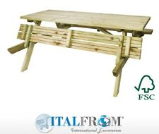 Tavolo con Panche Pieghevoli da Picnic in Pino Silvestre 180x165xH72 cm Italfrom