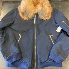 NWT Love Token Navy Genuine Fur Coat w/ Fox Trim Collar, Medium