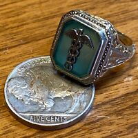 VNTG ANTIQUE 10K YELLOW & WHITE GOLD CADUCEUS CHRYSOPRASE RING 1931 BUFF GEN HSP