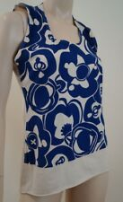 MARNI Cream & Blue Bold Abstract Print Round Neck Sleeveless Cami Top IT44 UK12