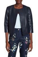 Ted Baker London Womens Rennay Crop Sleeve Leather Jacket Open Front Navy Sz 2