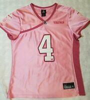 NFL Team Apparel Embroidered VIKINGS Jersey BRETT FAVRE #4 Womens XL Pink Reebok