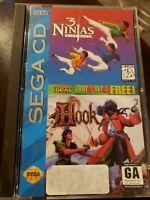 3 Ninjas Kick Back / Hook Double Deal. RARE Genesis Sega CD COMPLETE CIB