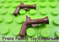 LEGO Minifig Weapon x2 Reddish Brown Pirate Flintlock Pistol Gun 4184 4195 7510