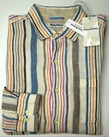 NWT $115 Tommy Bahama Long Sleeve Ivory Striped Striped Shirt Mens Linen NEW