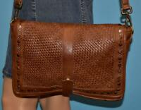 PLATANIA ITALIAN Brown WOVEN Leather Studded Messenger Flap Crossbody Purse Bag