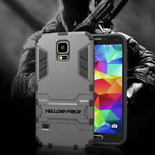Rugged Hybrid Armor Impact Hard Case Dual Layers Kickstand Cover For Galaxy S5