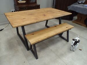 Industrial Steel & Pine Dining Table & Bench Set