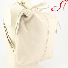 Ital. echt Leder Rucksack Beige Backpack Lederrucksack Umhängetasche Damen NEU