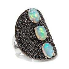 HSN Rarities Ethiopian Opal & Black Spinel Sterling Silver Shield Ring Sz 7